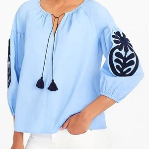 J.Crew Embroidered peasant top size XL Blue